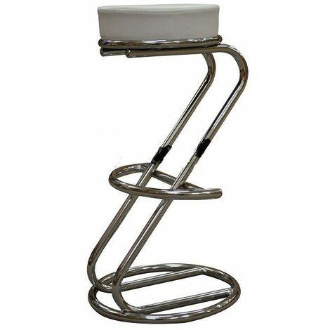 "main image of ""Lombardi Z Shaped Faux Leather Bar Stool - White Seat"""