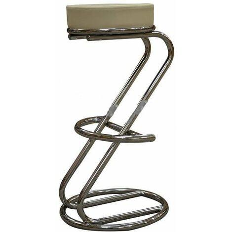 Lombardi Z Shaped Kitchen Breakfast Bar Stool Faux Leather Padded Cream Seat