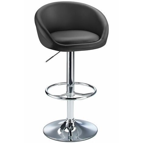 Lombardy Adjustable Kitchen Bar Stool Chrome - Black Black Chrome
