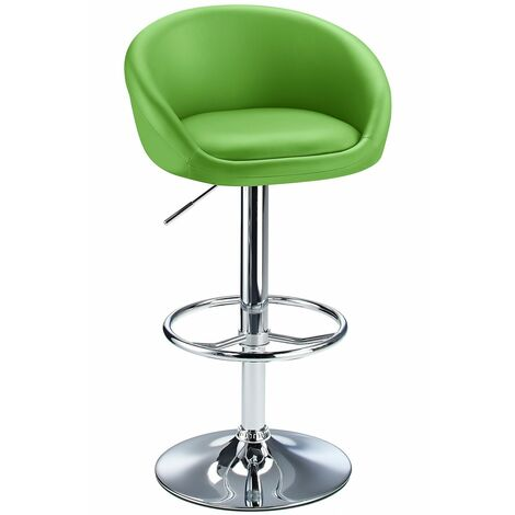 Lombardy Adjustable Kitchen Bar Stool Chrome Green Seat Cream Chrome
