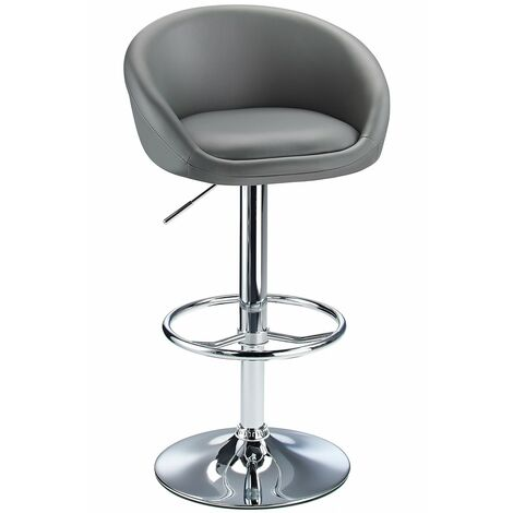 Lombardy Adjustable Kitchen Bar Stool Chrome Grey Seat Grey Chrome