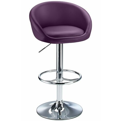 Lombardy Adjustable Kitchen Bar Stool Chrome Purple Seat Black Chrome