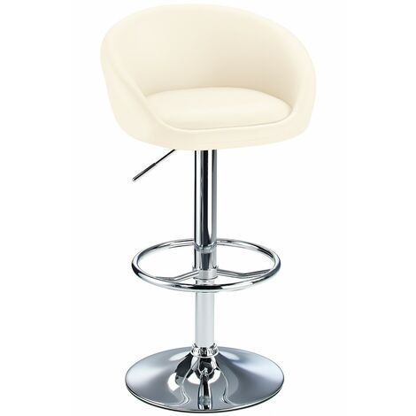 Lombardy Real Leather Kitchen Bar Stool Padded Seat Adjustable Height Chrome Frame 3 Colours
