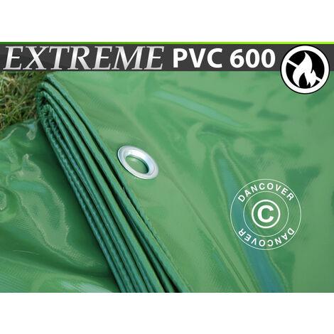 Lona 6x12m, PVC 600g/m², Verde, Ignífuga