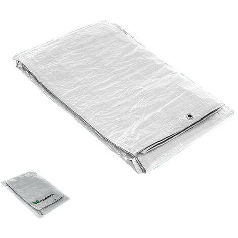 Lona impermeable reforzada 4x6 metros (aproximadamente) con ojetes metálicos, lona de protección duradera, color blanco.