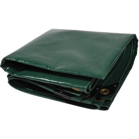 Lona de protección NEMAXX PLA35 Premium 300 x 500 cm; verde con ojales, PVC de 650 g/m², cubierta, lona de protección. Impermeable y a prueba de desgarros, 15m²