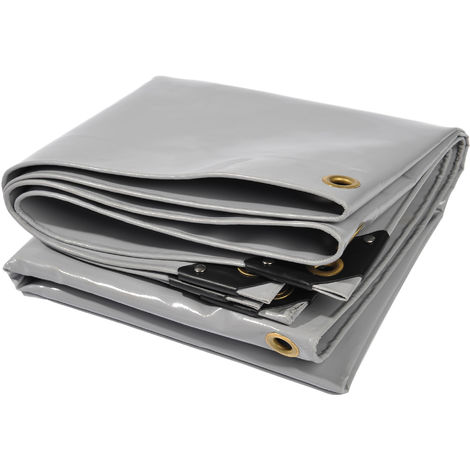 Lona de protección NEMAXX PLA48 Premium 400 x 800 cm; gris con ojales, PVC de 650 g/m², cubierta, lona de protección. Impermeable y a prueba de desgarros, 32m²