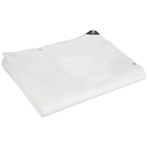 "main image of ""Lona Impermeable 200 g/m², 5 x 6 m, Tela Toldo con Ojales, Resistente al Desgarre, Lona para Piscina, Blanco"""