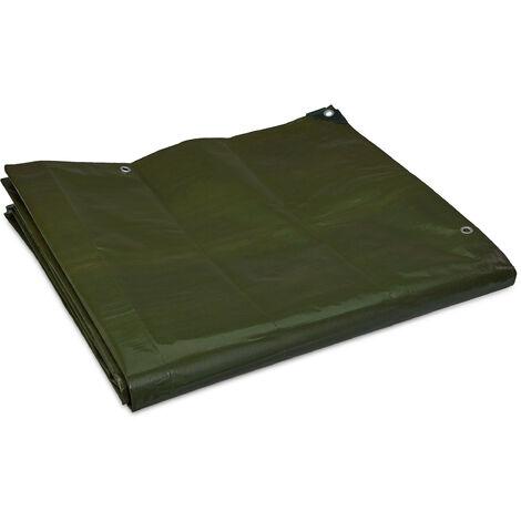 "main image of ""Lona Impermeable 200 g/m², 6 x 8 m, Tela Toldo con Ojales, Resistente al Desgarre, Lona Suelo Piscina, Verde"""