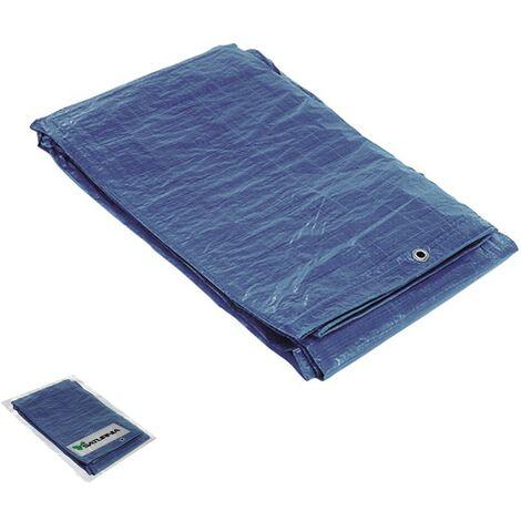 Lona impermeable azul con ojetes metálicos 4 x 6 metros (aproximadamente)
