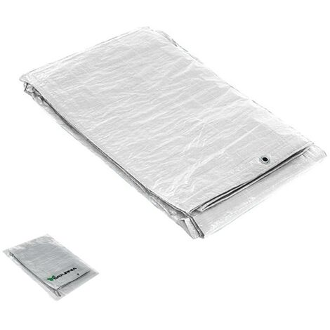 Lona impermeable blanca con ojetes metálicos 4 x 6 metros (aproximadamente)
