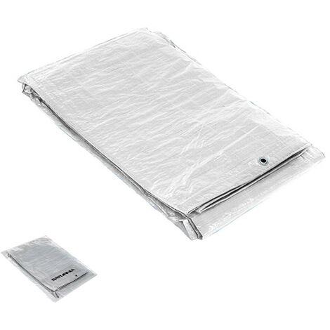 Lona Impermeable Reforzada 3x4 metros Con Ojetes Metálicos, Lona de Protección Duradera, Color Blanco