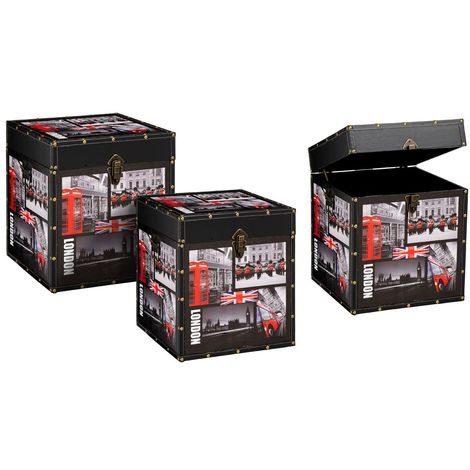 London collection storage trunks,set of 3,medium-density fibreboard/leather effect