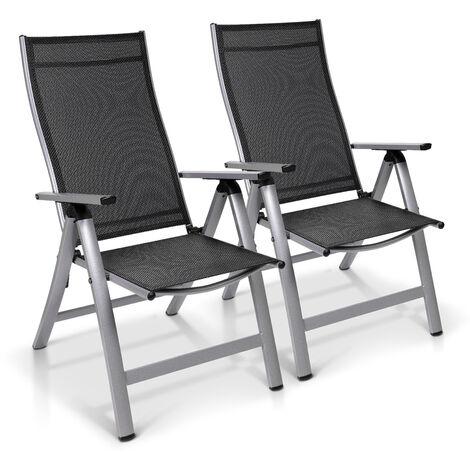 "main image of ""London, Garden Chair, Set of 2, Textilene, Aluminium, 6-Position, Foldable"""