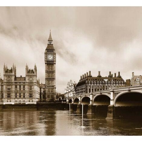 London, rideau imprimé Big Ben et la Tamise en noir et blanc sépia 280x245 cm, 2 parts