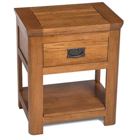 London Solid Oak 1 Drawer Side Table in Medium Oak Finish | Wooden Bedside Cabinet with Shelf