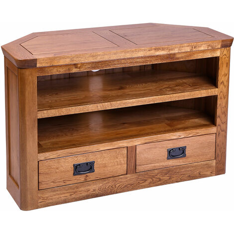 London Solid Oak 2 Drawer Corner TV Stand Unit in Medium Oak Finish   Wooden Media Cabinet