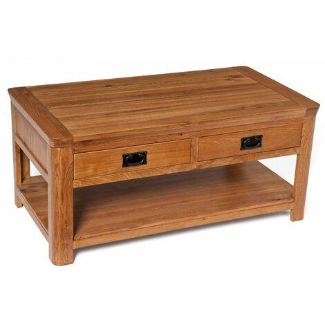 London Solid Oak 4 Drawer Coffee Table in Medium Oak Finish 108cm | Wooden Rectangular Lounge Storage