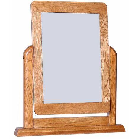 London Solid Oak Framed Dressing Table Mirror in Dark Oak Finish | Wooden Trinket Vanity Mirror