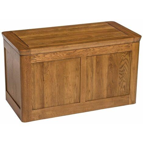London Solid Oak Large Blanket Box in Medium Oak Finish | Toy Storage Trunk Chest | Wooden Ottoman