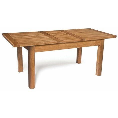 London Solid Oak Large Butterfly Extending Dining table in Medium Oak Finish 150/195cm   Wooden Kitchen Dinner Table