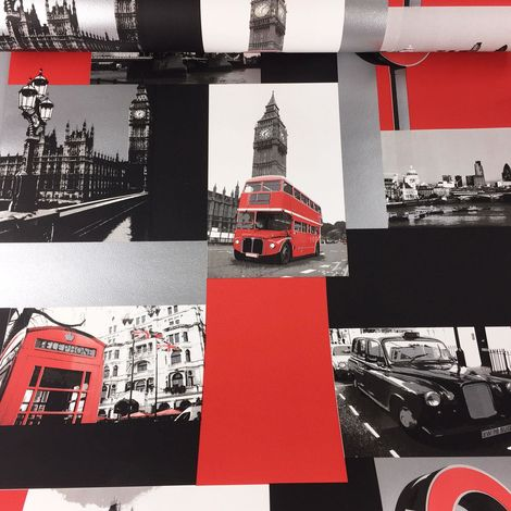 London Wallpaper Black Cab Big Ben Car Collage Red Black Metallic Silver Ugepa