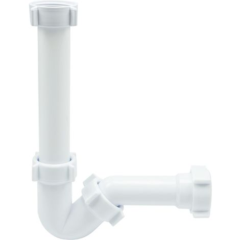 Long Bidet Basin Drain Waste Trap White Plastic Bathroom P-trap Set