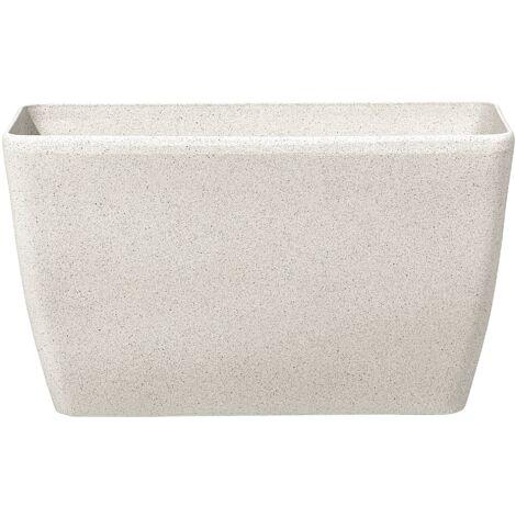 Long cache pot rectangulaire en pierre beige BARIS