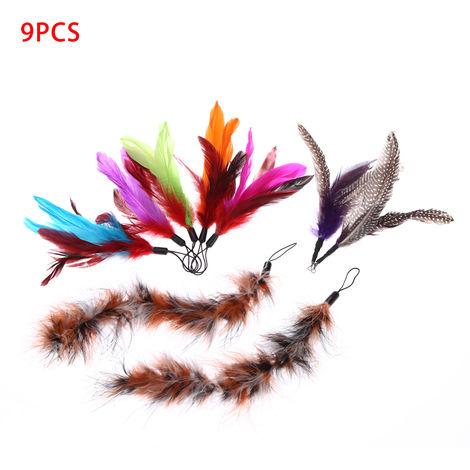 Long Feather Pet Kitten Cat Toy 9PCS