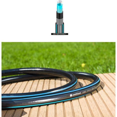 "Long Flexible Six Layer Garden Black Hose Hosepipe 60m Length 1/2"" Diameter"