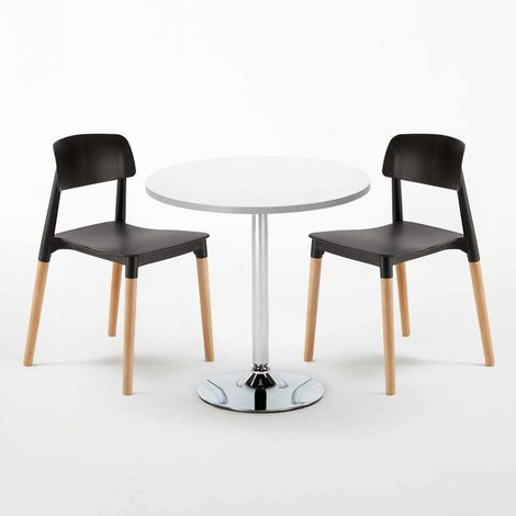 LONG ISLAND Set Made of a 70cm White Round Table and 2 Colourful BARCELLONA Chairs
