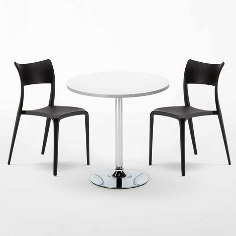 LONG ISLAND Set Made of a 70cm White Round Table and 2 Colourful PARISIENNE Chairs