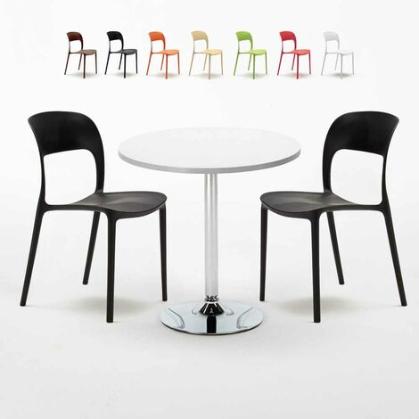 LONG ISLAND Set Made of a 70cm White Round Table and 2 Colourful RESTAURANT Chairs