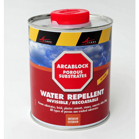 ARCABLOCK - Water repellent for porous building materials protect porous building materials from freezing, mildew and mould | Liquid Transparent - 0.75L (cover up to 3.75m²)