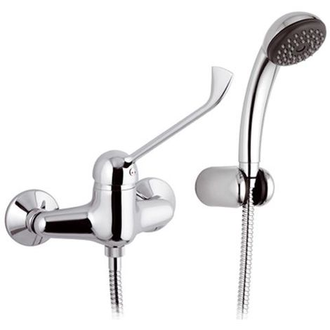 Long Lever Chromed Wall Mounted Shower Mixer Tap Disabled Mobility Easy Use