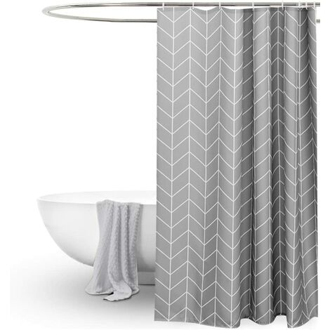 """main image of """"Long Shower Curtain 72x78inch Gray Geometric Simple Stylish,Weighted Thick Fabric Decorative Grey Shower Curtains for Bathroom Bathtubs,Hotel Quality Cloth Shower Curtains Longer 6.5ft length"""""""