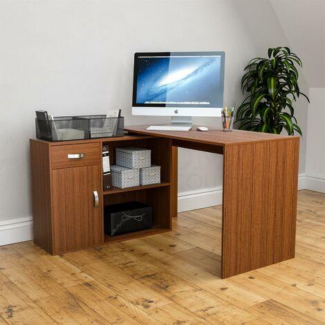 Longton Adjustable Computer Desk, Walnut
