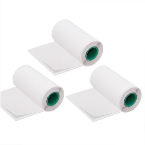 Longue Duree De 10 Ans Conservation Post-It Rouleau De Papier Thermique 56 * 30Mm / 2.2 * 1.2In Bpa Noir Police Adhesif Autocollant Etiquettes Pour Peripage A6 / A8 / P6 Paperang P1 / P2 Imprimante Thermique Paquet De 3 Rouleaux, Blanc, Adhesif