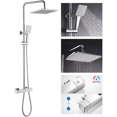 Lonheo Bad Regendusche mit Thermostat Duschset Duschsäule Duschsystem Duscharmatur Kopfbrause mit Handbrause Set für Badezimmer, Chrom