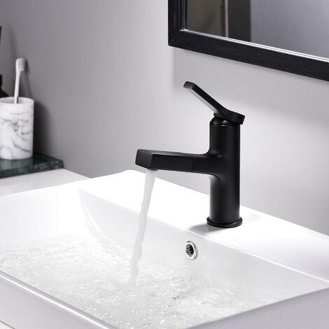 Lonheo Bad Waschtischarmatur Badezimmer Wasserhahn Ausziehbarem Einhebelmischer Schwarz