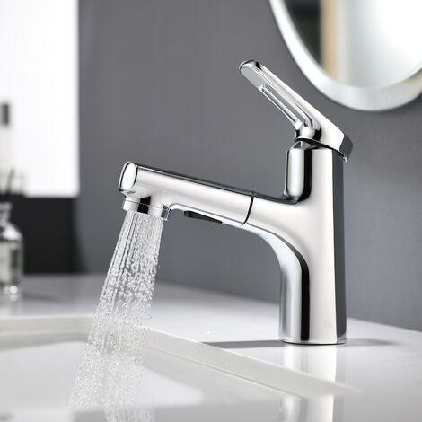 Lonheo Bad Wasserhahn Ausziehbar Waschbecken Mischbatterie Waschbeckenarmatur mit 2 Strahlarten, Chorm