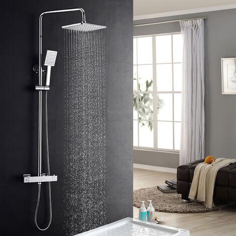 Lonheo Duschset Duschsystem Bad Regendusche mit Thermostat Duschset Duschsäule Duschsystem Duscharmatur Kopfbrause mit Handbrause Set für Badezimmer