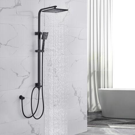Lonheo Duschset Quadrat Duschsäule Duschsystem ohne Armatur, Schwarz Regendusche Duschset mit Kopfbrause eckig 20x20cm und 3 Strahlarten Handbrause, Höhenverstellbar Duschstange für Dusche und Badewanne