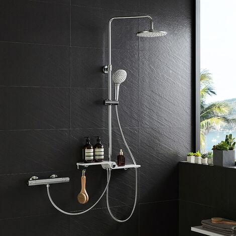 Lonheo Duschsystem Duschset mit Duschablage Überkopfbrause und Drei Funktionen Handbrause für Badzimmer