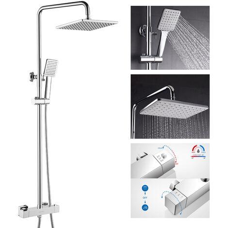 Lonheo Duschsystem mit Thermostat, Chrom Duschsäule mit Handbrause, Regenduschset Duscharmatur set für Badezimmer