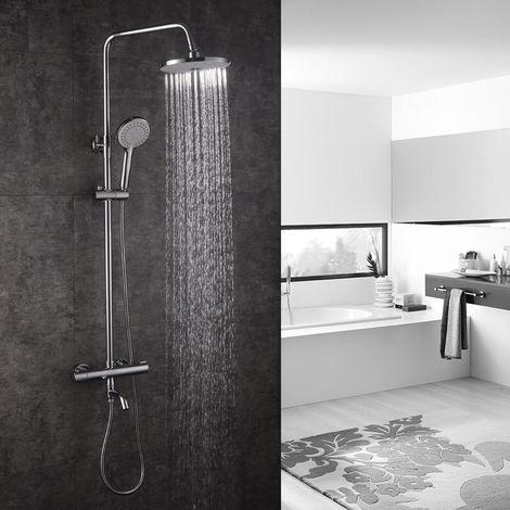 3-Funktion Duschsystem mit Thermostat Duschset Regendusche Handbrause Kopfbrause