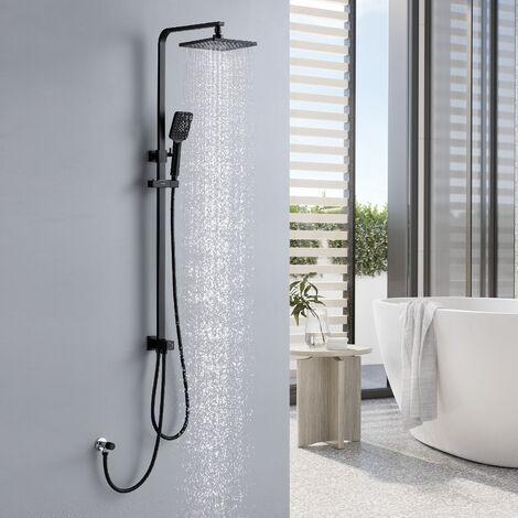 Lonheo Duschsystem Regendusche Duscharmatur Duschset Duschsäule inkl. Handbrause, Regenbrause, Duschstange, Schwarz