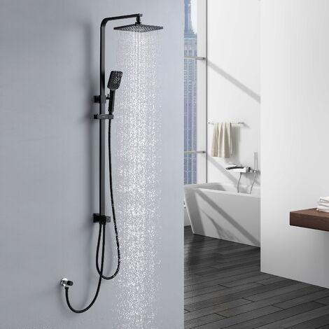 Lonheo Duschsystem Schwarz Duschset Regenduschset Duschsäule Regendusche Duscharmatur mit 3 Funktion