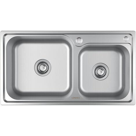 Lonheo Edelstahl Küchenspüle Spülbecken 2 Becken, Einbauspüle Edelstahlspüle Küche Waschbecken Einzelbecken, 78x43cm