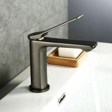 Lonheo l gant mitigeur de lavabo en laiton de qualit robinet pour salle de bain couleur gris - Robinetterie laiton salle de bain ...